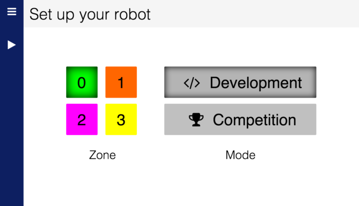 The robot interface's set up screen